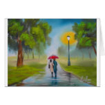 RAINY DAY COUPLE UMBRELLA PAINTING GREETING CARDS