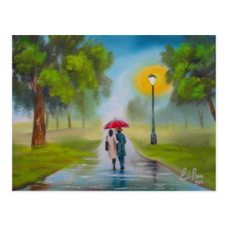 RAINY DAY COUPLE UMBRELLA PAINTING POSTCARD