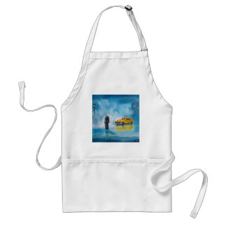 RAINY DAY COUPLE YELLOW TAXI CAB ADULT APRON