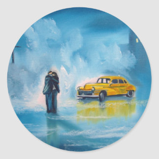 RAINY DAY COUPLE YELLOW TAXI CAB CLASSIC ROUND STICKER