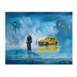 RAINY DAY COUPLE YELLOW TAXI CAB POSTCARD