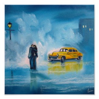 RAINY DAY COUPLE YELLOW TAXI CAB POSTER