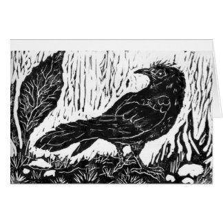 Rainy Day Crow -- block print Card