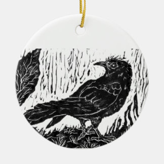 Rainy Day Crow -- block print Ceramic Ornament