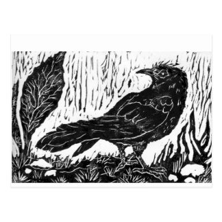 Rainy Day Crow -- block print Postcard