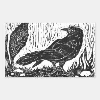 Rainy Day Crow -- block print Rectangular Sticker