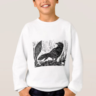 Rainy Day Crow -- block print Sweatshirt