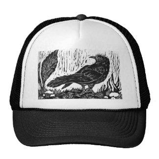 Rainy Day Crow -- block print Trucker Hat