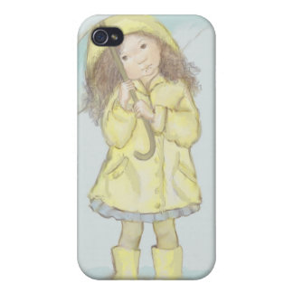 Rainy Day Cute Girl With Umbrella Covers For iPhone 4