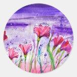 Rainy Day Flowers Classic Round Sticker