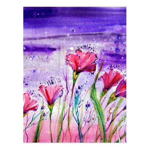 Rainy Day Flowers Postcard