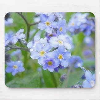 Rainy Day Forget Me Nots Mouse Pad