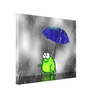 Rainy Day Frog Stretched Canvas Print