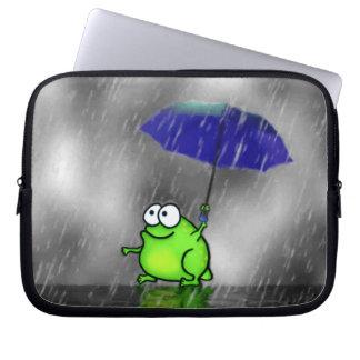 Rainy Day Frog Laptop Sleeves