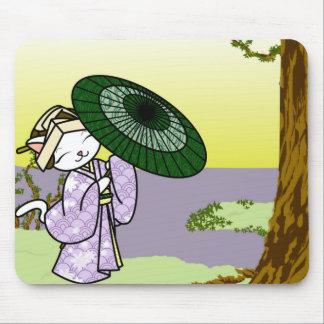 Rainy Day Geisha Kitty Mousepad