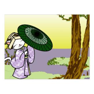Rainy Day Geisha Kitty Postcard