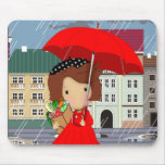 Rainy Day Girl Mouse Mat Mouse Pad