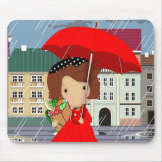 Rainy Day Girl Mouse Mat Mouse Pads