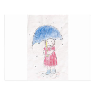 Rainy Day Girl Postcard
