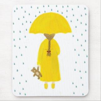 Rainy Day Girl with Teddy Bear Mousepad