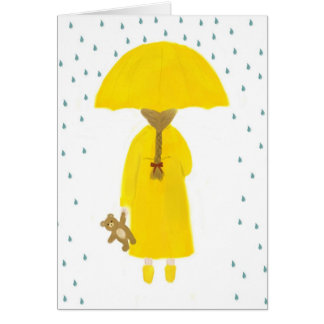 Rainy Day Girl with Teddy Bear Note Card