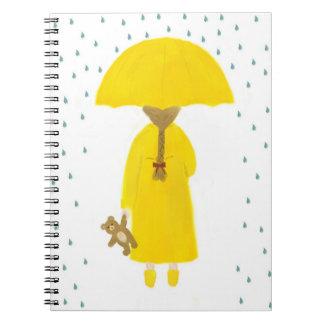 Rainy Day Girl with Teddy Bear Notebook