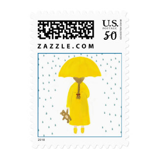 Rainy Day Girl with Teddy Bear Postage