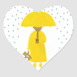 Rainy Day Girl with Teddy Bear Stickers