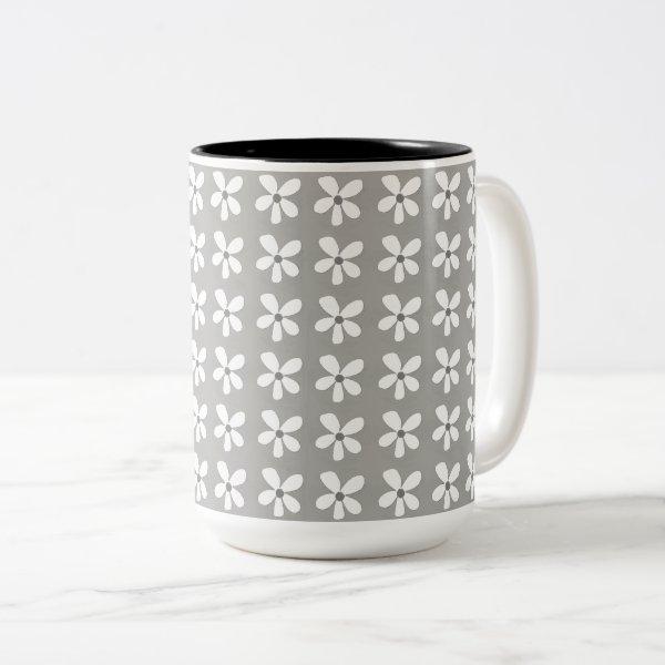 Rainy-Day-Grey-Daises-Coffee-Travel-Mugs & More Two-Tone Coffee Mug