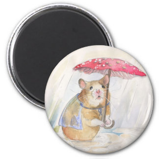 Rainy Day - Hamster with funny Mushroom Umbrella Magnet