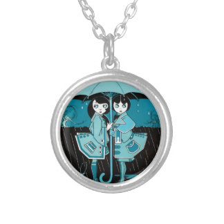 Rainy Day in Blue Round Pendant Necklace