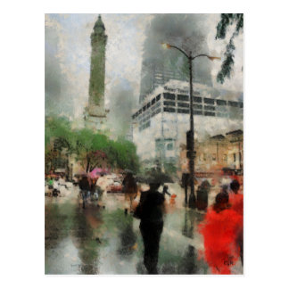 Rainy Day in Chicago Postcard