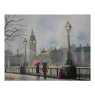Rainy day in London couple with an umbrella Poster