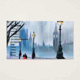 Rainy day in London Thames painting by G Bruce Business Card
