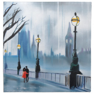 Rainy day in London Thames painting by G Bruce Cloth Napkin