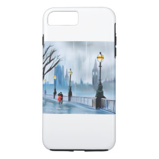 Rainy day in London Thames painting by G Bruce iPhone 8 Plus/7 Plus Case