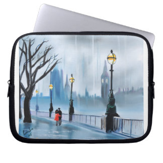 Rainy day in London Thames painting by G Bruce Laptop Sleeve