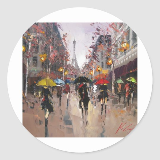 Rainy Day in Paris Classic Round Sticker