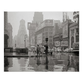 Rainy Day in Times Square, 1943. Vintage Photo Poster