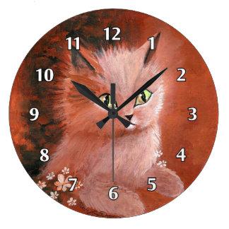 Rainy Day Kitty Cat Large Clock