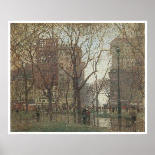 Rainy Day, Madison Square, New York, 1907-08 Poster