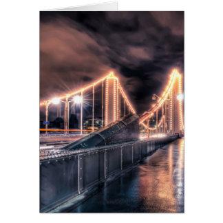 Rainy day on Chelsea Bridge, London Card