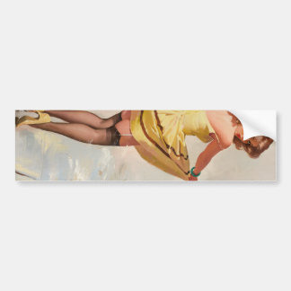 Rainy Day Pin-Up Girl Bumper Sticker
