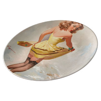 Rainy Day Pin-Up Girl Porcelain Plate