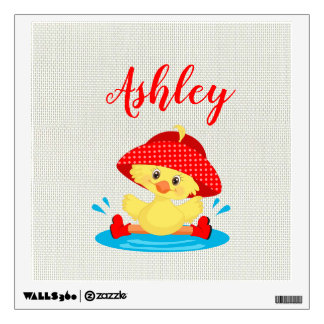 Rainy Day Puddle Duck Red Rain Hat Boots Baby Wall Sticker