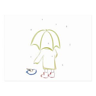 Rainy day puddle postcard