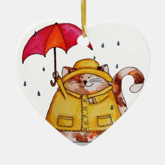 Rainy Day Puff Cat Ceramic Ornament