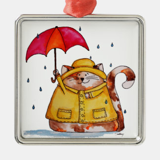 Rainy Day Puff Cat Metal Ornament