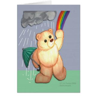Rainy Day Rainbow Bear Note Card
