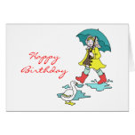 Rainy Day Red Galoshes with Duck & Umbrella Greeting Cards